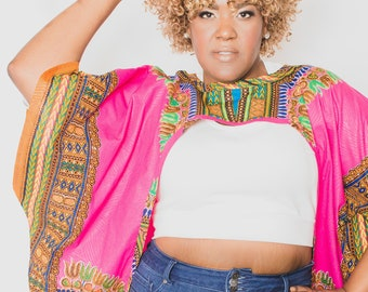 Dashiki Print Pink African Print Shrug - One Size fit 8 - 32 - Ready to Ship