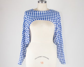 Plus size Royal Blue and White Houndstooth Shrug - One Size