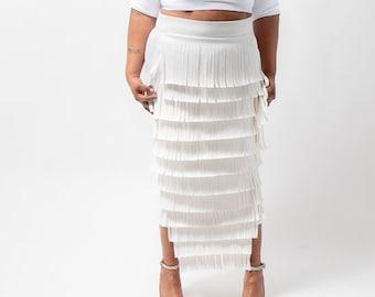 """Plus size leather fringe peplum skirt 36"""""""