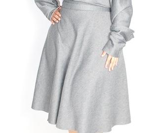 "Plus Size Sweatshirt Elastic Midi Skirt / Women plus size High Waist / Sweatshirt Fleece 30"" L"