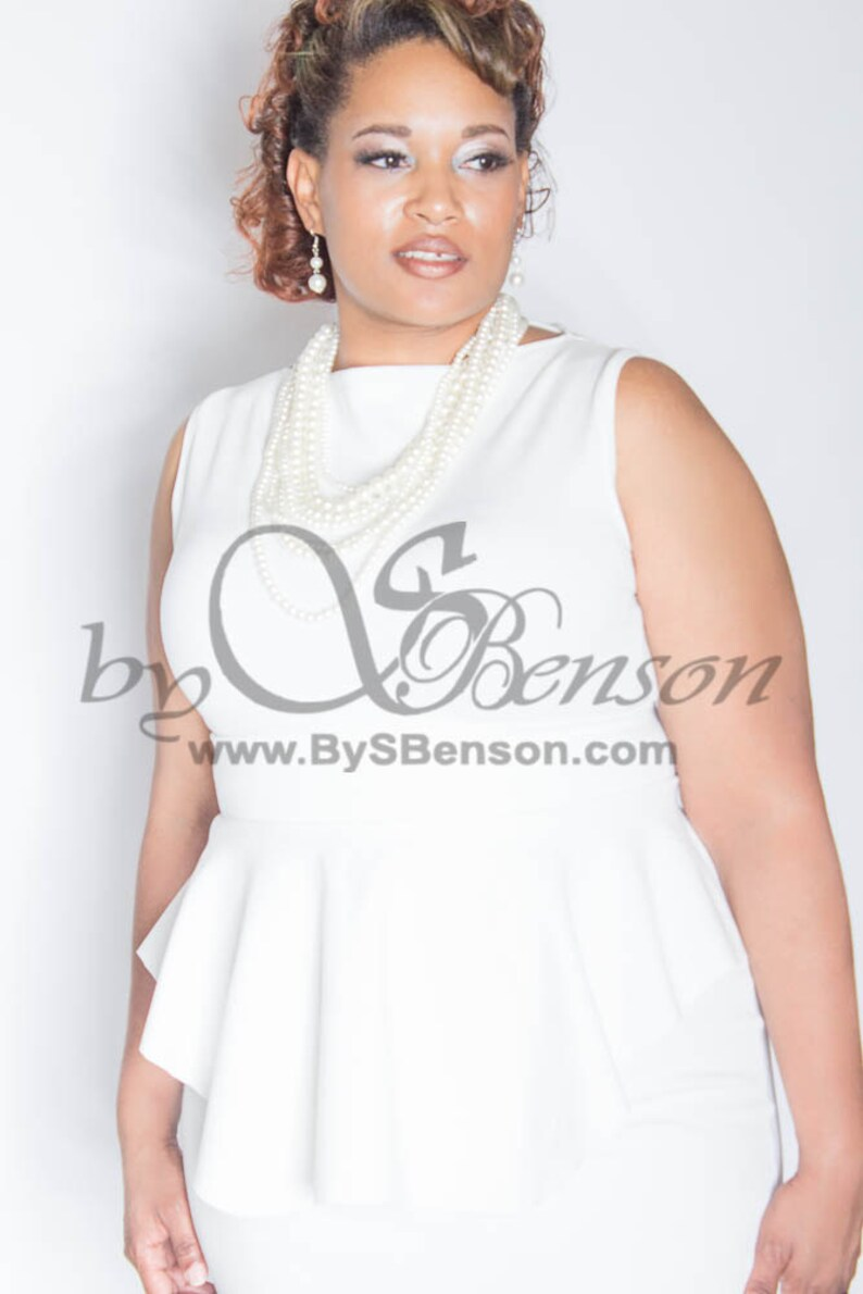 Plus Size Custom Peplum Dress 2 Pieces image 0