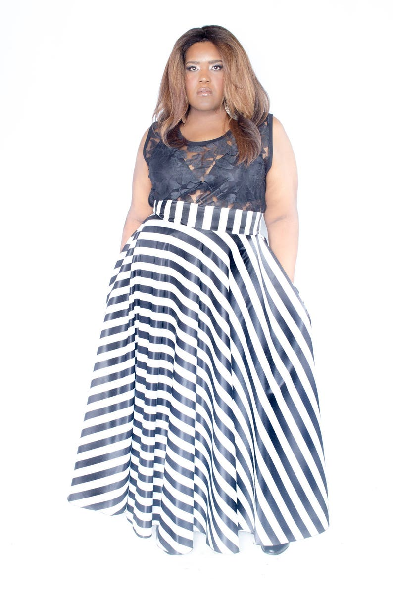 Satin Plus Size Maxi Skirt Stripes plus size High Waist / plus image 0