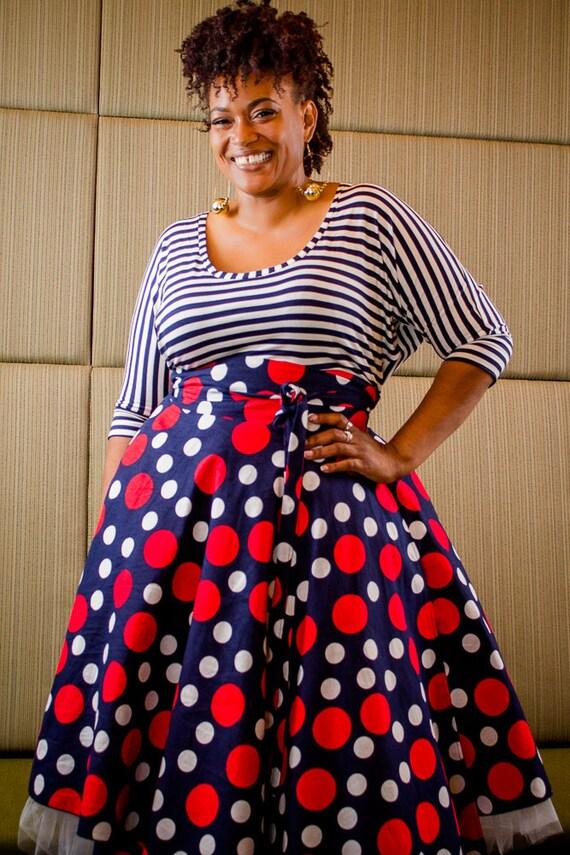 Plus Size Midi Skirt Navy Red and White Polka Dot plus size High Waist /  plus size 2 - 24 ) 30\