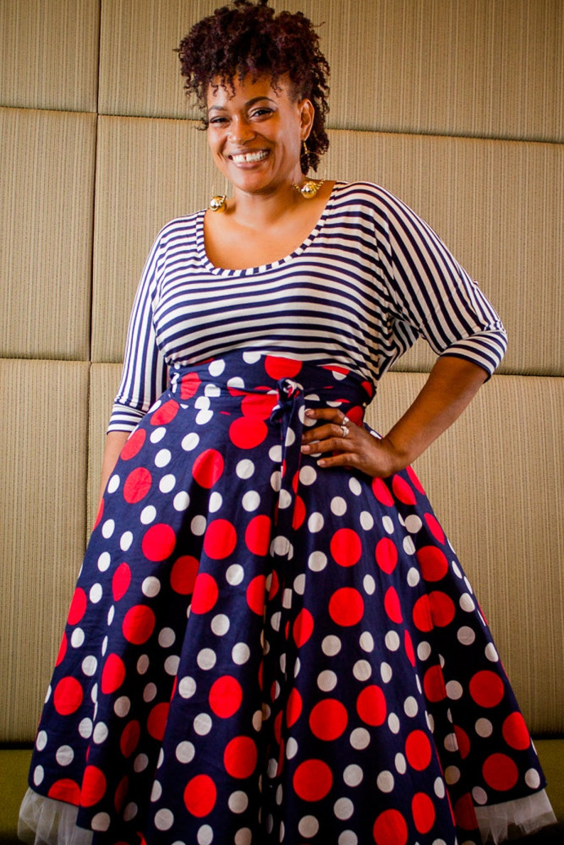 a205d92f569 Plus Size Midi Skirt Navy Red and White Polka Dot plus size