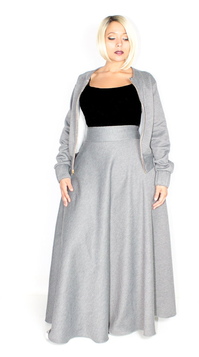 Plus Size Sweatshirt Maxi Skirt / Women plus size High Waist / image 0