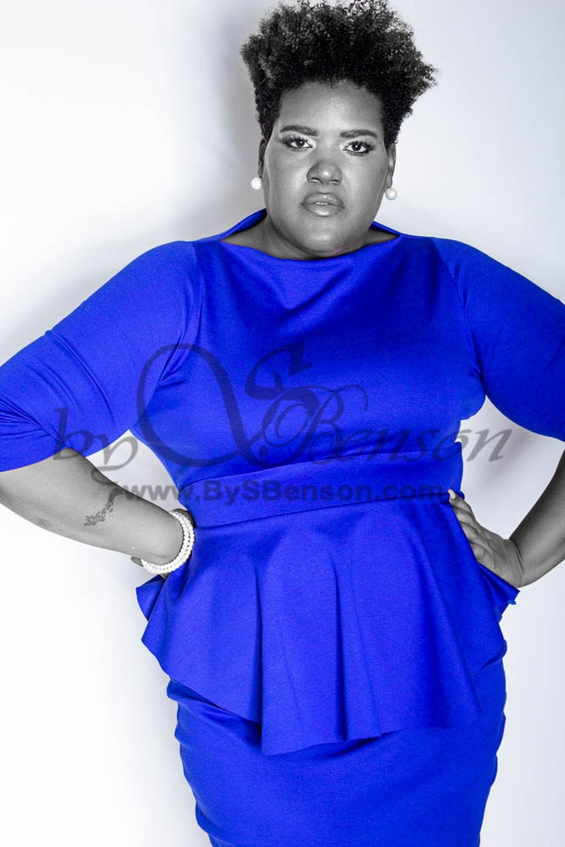 1c8edc0b0f3f7 Plus Size Custom Peplum Dress Sleeve 2 Pieces