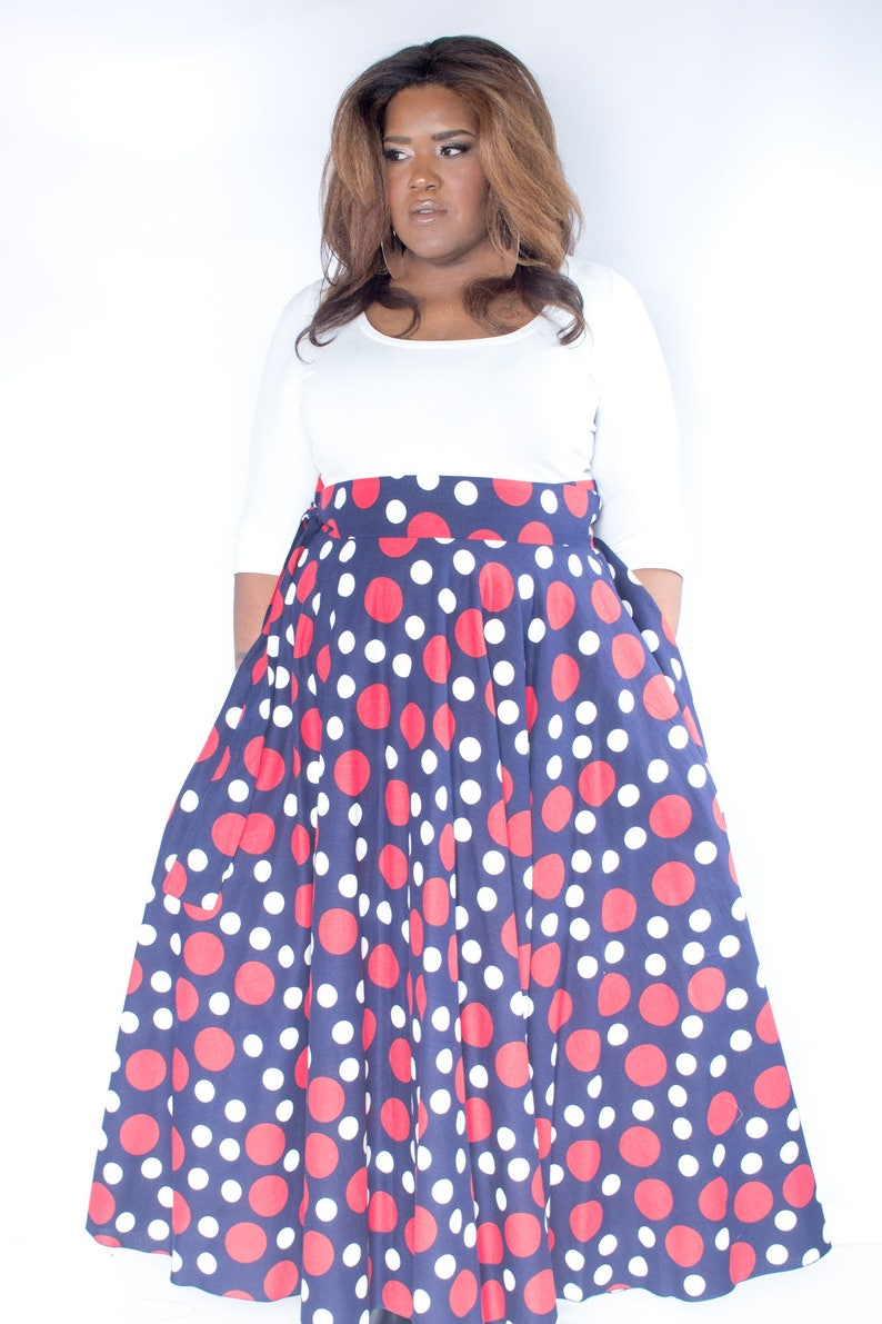 8f0d0d46455 Plus Size Maxi Skirt Navy Red and White Polka Dot plus size