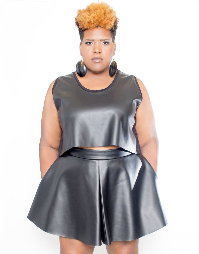 Plus size Vegan Leather Front Crop Top image 0