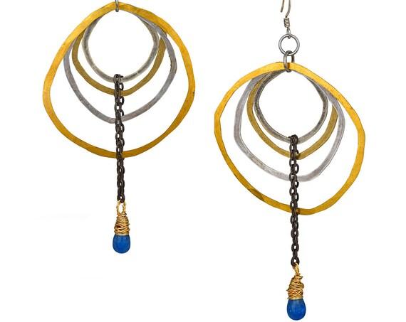Free-form Silver & Brass Sapphire Drop Earrings