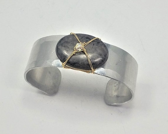 Black/gray agate Cuff