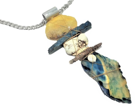 Golden Agate, white turquoise, spiny sea urchin, Brazilian blue agate Necklace