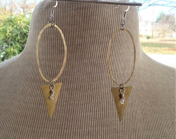Hammered Silver Oval & Brass Triangle Earrings