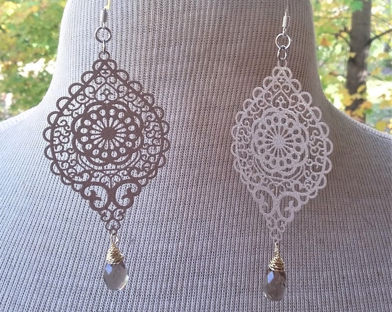 Smokey Quartz Filigree Drops