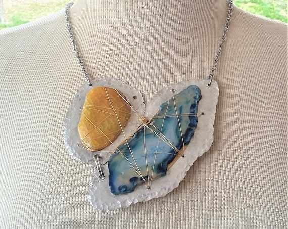 OOAK Golden Agate, Brazilian Blue Agate Necklace