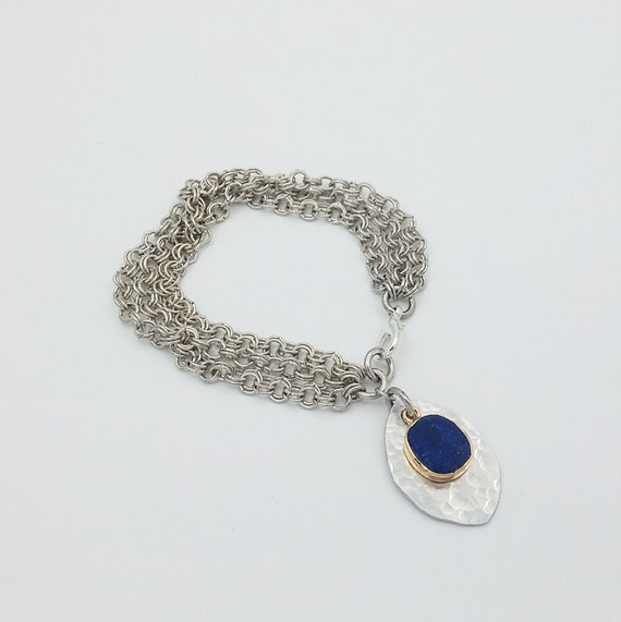 Lapis layered chain bracelet