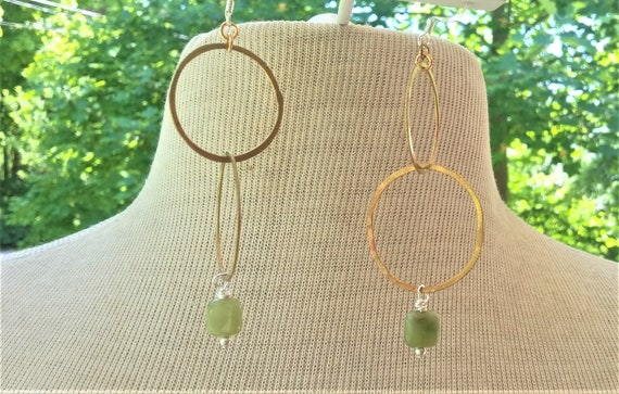 Green Garnet Double Drop Brass Circle Earrings