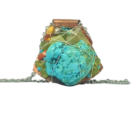 Modern Mosaic Turquoise Peridot Amber-Aquamarine Coral Necklace
