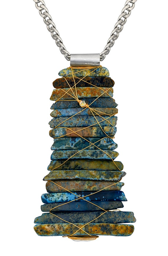 Blue Brazilian Agate Slice Necklace