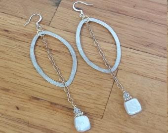 Dream Works Coin Pearl Drop Earrings