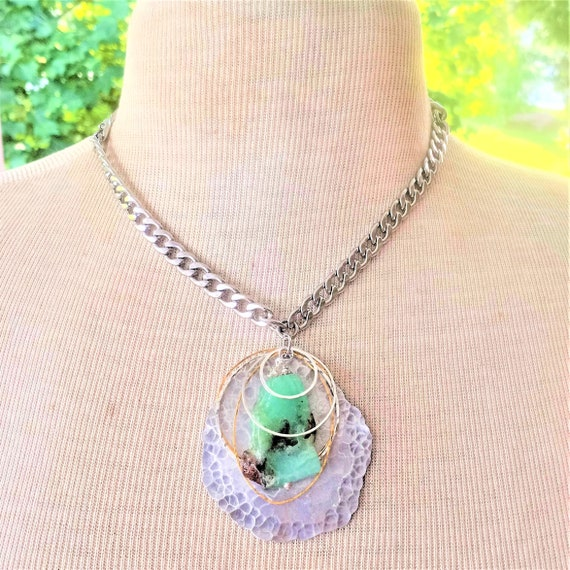Freeform Chrysoprase Slab Pendant Necklace