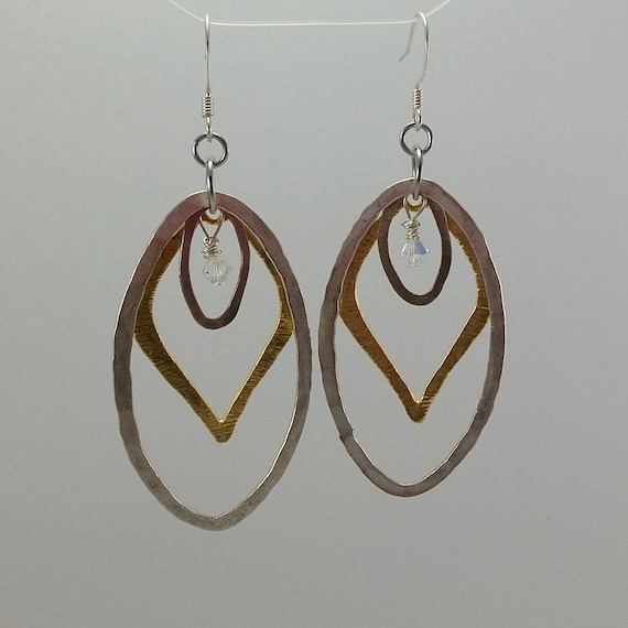 Hammered Silver & Brass Earrings