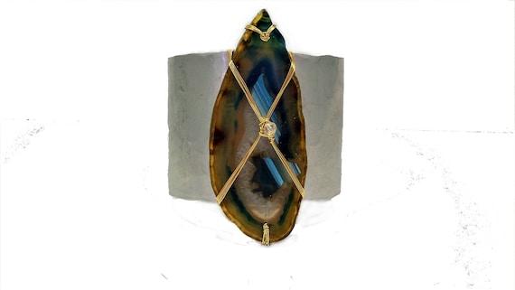Brazilian Blue Agate Slice Hammered Aluminum Cuff