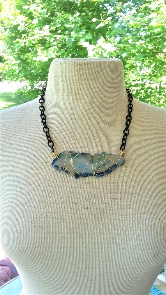 Ocean Blue Brazilian Agate Slice Necklace