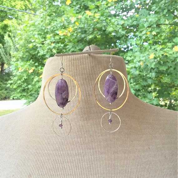Amethyst Silver Brass Earrings