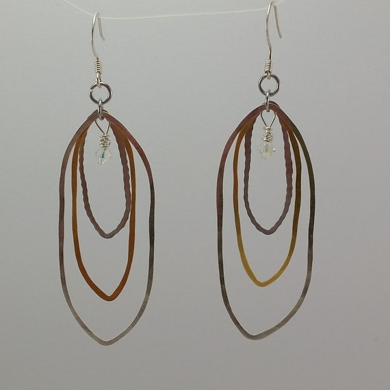 Freeform Elongated Oval Silver & Brass Earrings