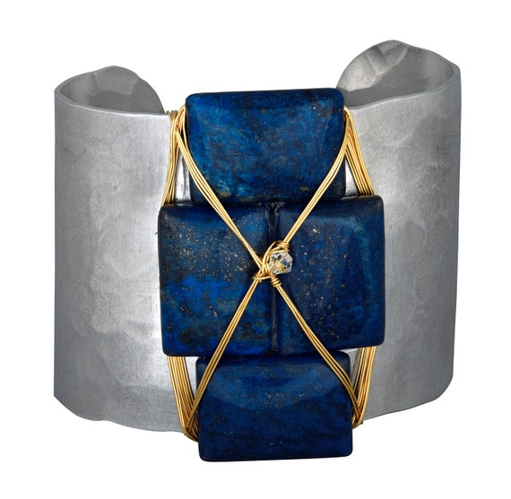 Lovely Lapis Wide Cuff