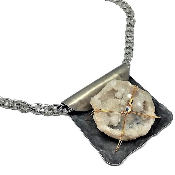 Raw White Druzy Necklace