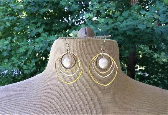 Pearls, Silver, Gold, brass Freeform Earrings