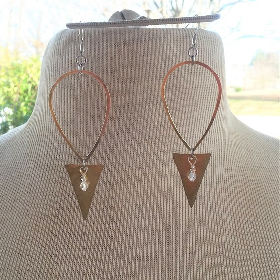 Hammered Brass Teardrop & Triangle Earrings