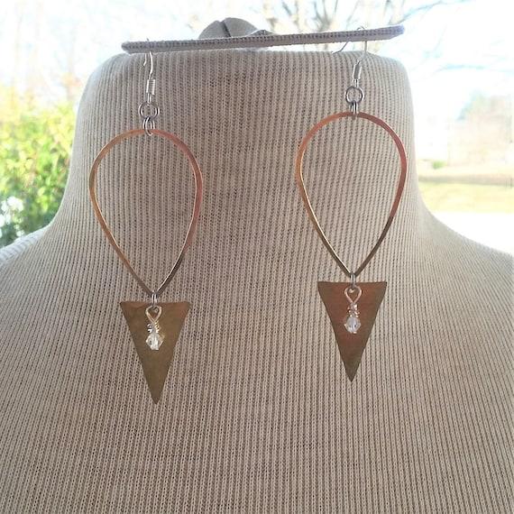 Hammered Brass Teardrop & Triangle Earrings