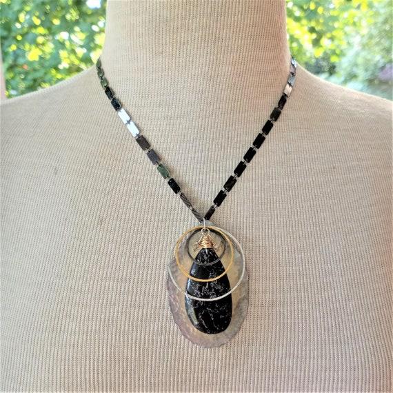 Jet Gemstone with Matrix Pendant Necklace