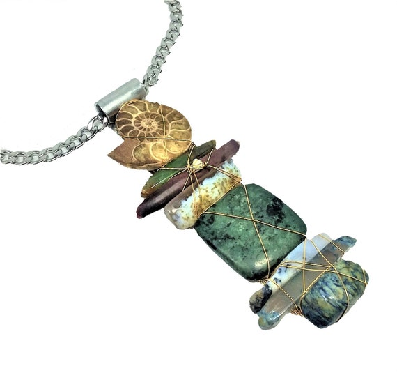Totem Necklace with Fossil, Jasper, Azurite, Agate