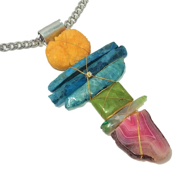Druzy, Agate, Jade Totem Necklace