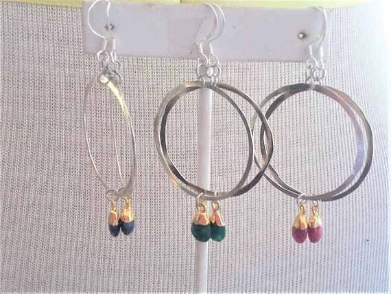 Sapphire, Ruby, Emerald drops Hammered Silver Hoop Earrings