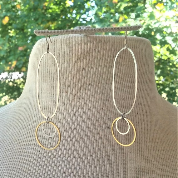 Simple Silver & Brass earrings