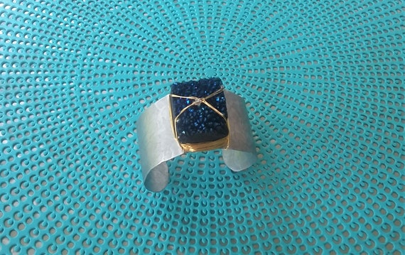 Midnight blue druzy cuff