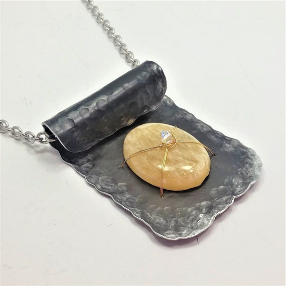 Golden Calcite Black Hammered Aluminum Pendant Necklace