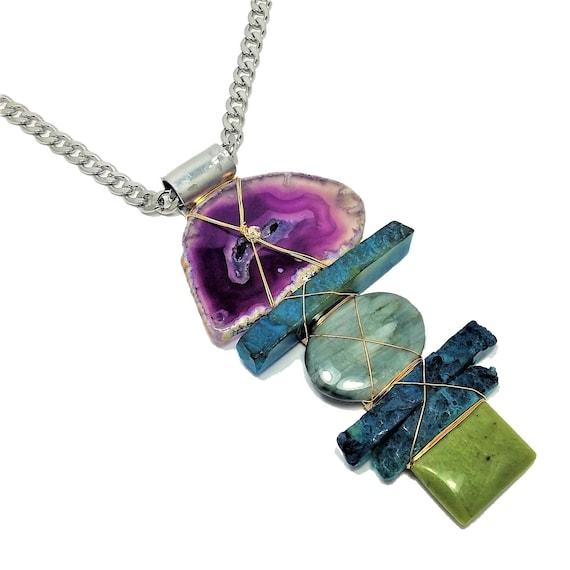 Ocean Blue Brazilian Agate, Amethyst slice, Jade, Cats Eye Necklace
