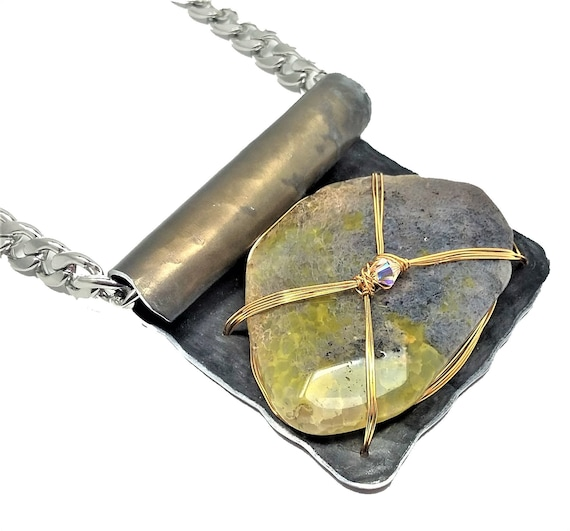 Gray Mossy Agate Necklace
