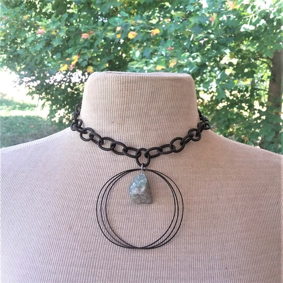 Raw Aquamarine Black Hammered Brass Necklace