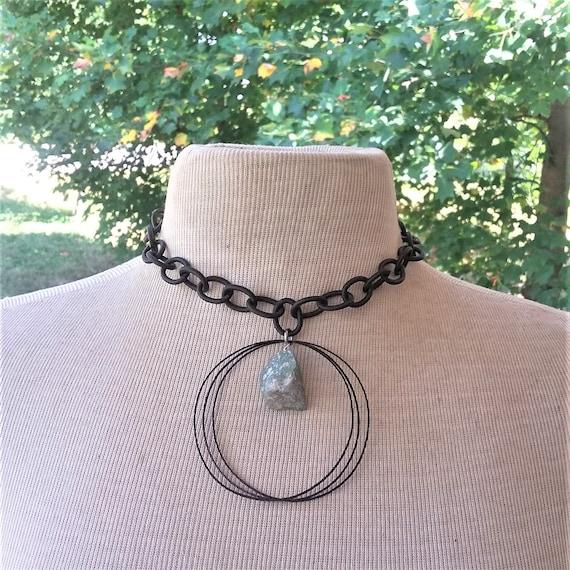 Raw Aquamarine Black Hammered Brass Necklace