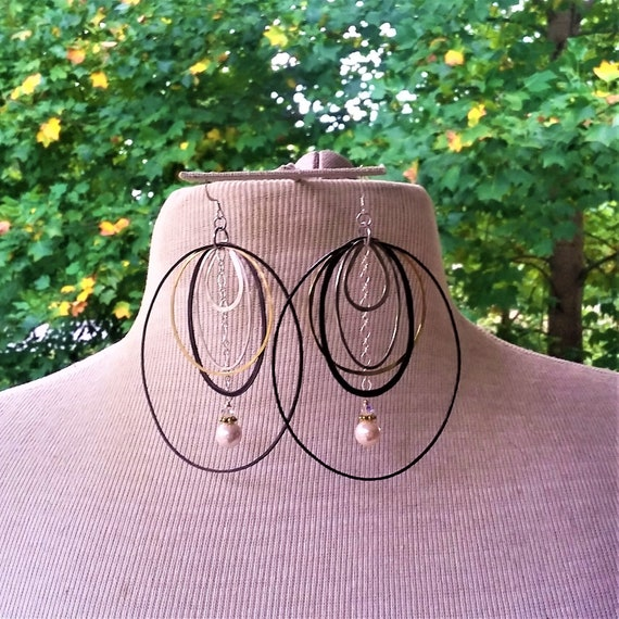 Statement Earrings! Pearls, Black Brass, Silver, Gold fill.