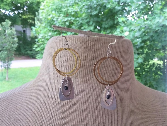 Dainty Sapphire Drops with Hammered Brass, Silver & Aluminum Earrings