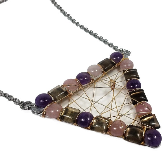 Amethyst Rose Quartz Smoky Quartz Dream Necklace