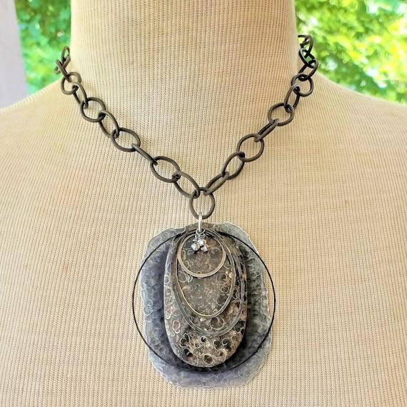 Turritella Agate Fossil Pendant Necklace