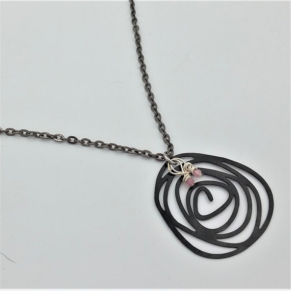 Rubies Black Swirl Necklace